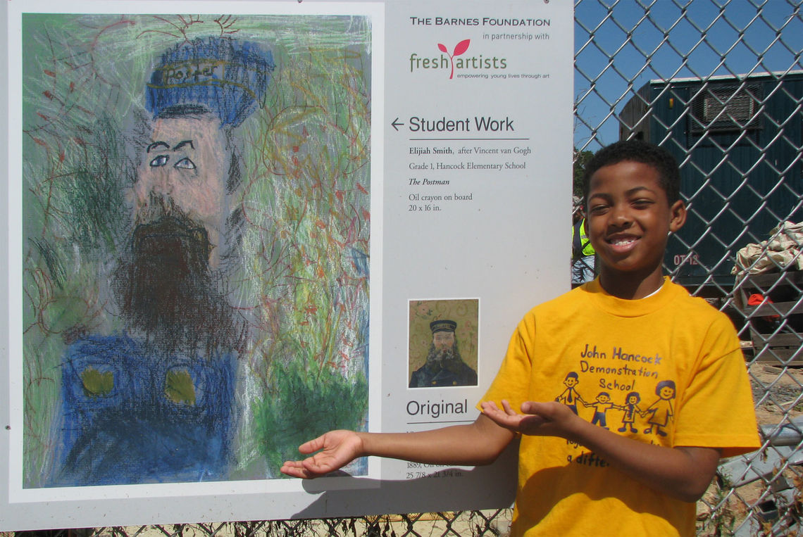 Elijah with his Mini-Masterpiece on the fence at the Barnes Foundation